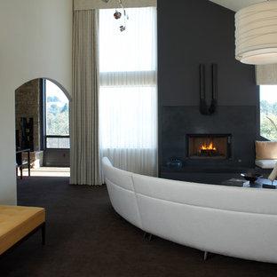 Foto di un soggiorno minimal con cornice del camino in cemento