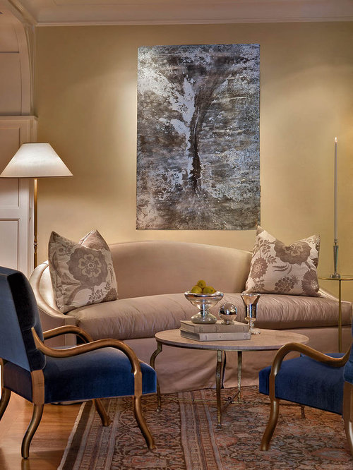 Small Elegant Living Room Photo In New York With Beige Walls Part 65