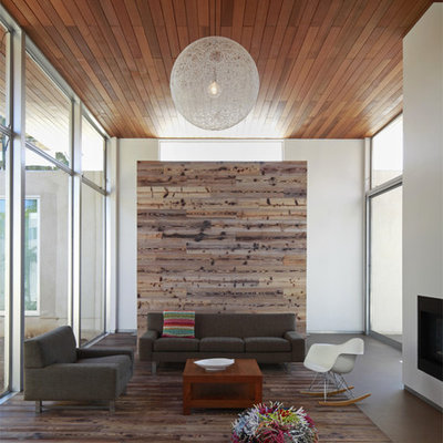 Minimalist wood ceiling living room photo in Los Angeles with white walls and a metal fireplace