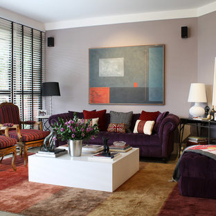 Living Room Contemporary Idea With Purple Walls