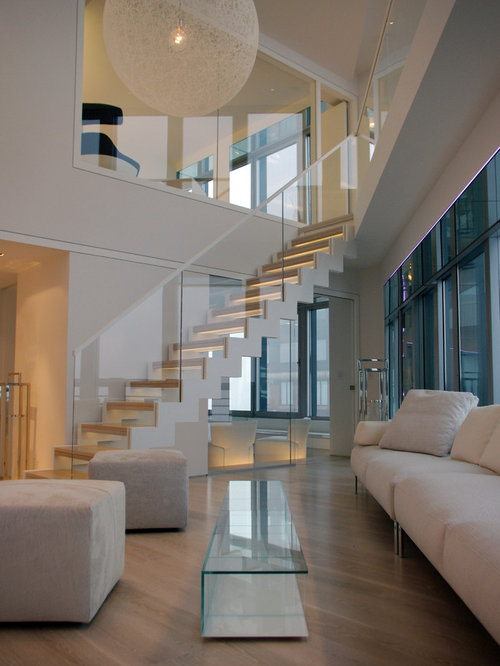 Glass stair railing houzz for Interior design of living room with stairs