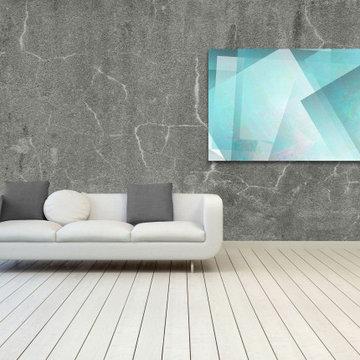 Aqua Blue White Large Wall Art