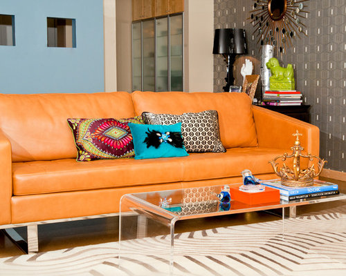 orange couch | houzz