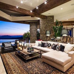 Foto de salón abierto, de estilo americano, con suelo beige