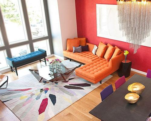 Foto e idee per living living contemporaneo con pareti rosse - Pareti rosse soggiorno ...