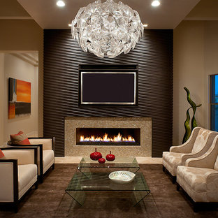 Example of a mid-sized trendy living room design in Phoenix with beige walls, a ribbon fireplace and a wall-mounted tv