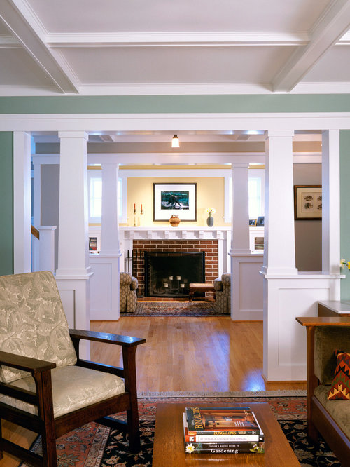 Bungalow interior home design ideas pictures remodel and for Craftsman living room ideas