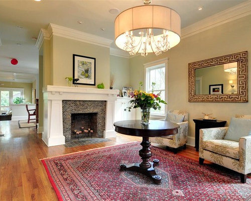 Example Of A Classic Medium Tone Wood Floor Living Room Design In Atlanta  With A Standard Part 16