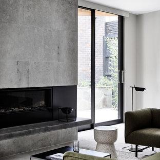 Foto di un grande soggiorno design aperto con pareti grigie, cornice del camino in pietra, pavimento marrone, pavimento in ardesia, camino lineare Ribbon, TV nascosta e sala formale