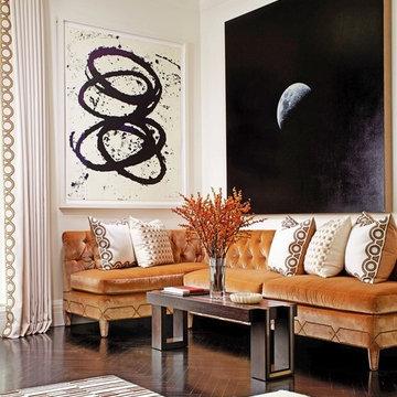 Armless Tufted Sofa with Art Deco Nail Head Trim