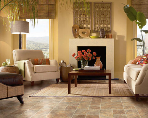 example of a mid sized island style formal and open concept linoleum floor living room