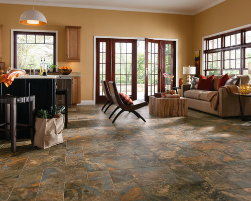Affordable Ceramic Tile In A Traditional Living Room Traditional Kitchen Living Design Ideas Renovations Photos With