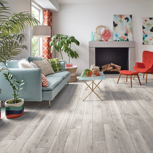 Charmant Inspiration For A Mid Sized Contemporary Open Concept Vinyl Floor And Beige  Floor Living Room
