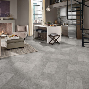 Large trendy formal and open concept vinyl floor and gray floor living room photo in Other with gray walls, a standard fireplace, a concrete fireplace and no tv