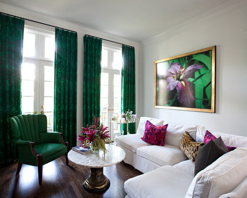 green curtains for living room. Example of a trendy dark wood floor living room design in Houston with  white walls Emerald Green Curtains Houzz