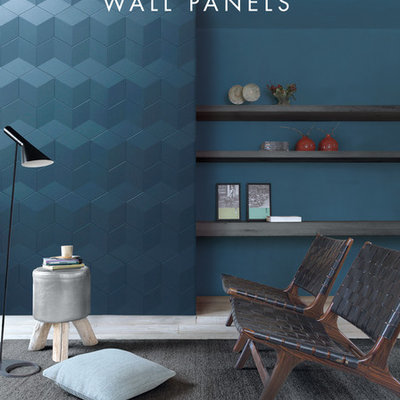 Example of a trendy living room design in Other with blue walls