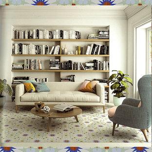 Ispirazione per un piccolo soggiorno minimal chiuso con sala formale, pareti beige, pavimento in gres porcellanato, nessun camino, nessuna TV e pavimento multicolore