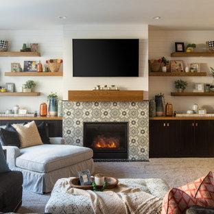 75 Beautiful Gray Living Room Carpet Pictures & Ideas | Houzz