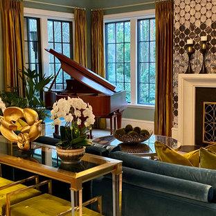 Foto de salón abierto, moderno, grande, con paredes azules, suelo de madera clara, chimenea tradicional, marco de chimenea de baldosas y/o azulejos y suelo multicolor