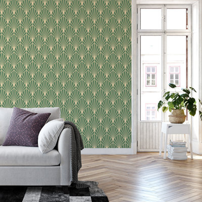 Inspiration for a large timeless loft-style wallpaper living room remodel in Portland with green walls