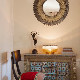 Transitional living room photo in Boston