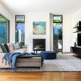 Photo of a contemporary living room in Sydney with white walls, medium hardwood floors, a standard fireplace, a freestanding tv, brown floor and a stone fireplace surround.