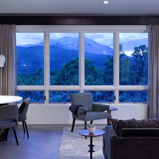 Inspiration for a mid-sized modern formal concrete floor living room remodel in Denver