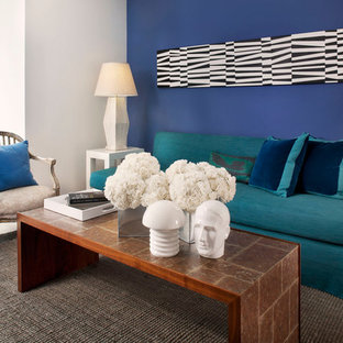 Inspiration for a mid-sized contemporary living room remodel in San Francisco with blue walls