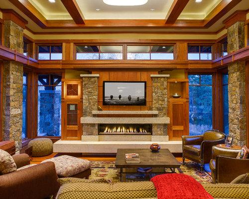Craftsman Living Room Design Ideas Remodels Photos Houzz