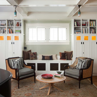Eclectic living room photo in Atlanta with a music area and green walls