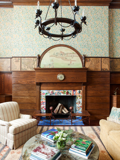 Craftsman Living Room Idea In New York With Multicolored Walls And A  Standard Fireplace