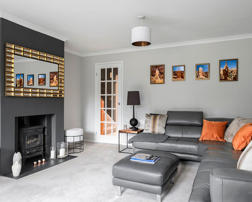 Photo Of A Medium Sized Contemporary Enclosed Living Room In Berkshire With  Grey Walls, Carpet Part 41