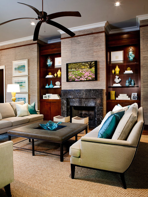 Aqua Living Room Design Ideas Remodels Photos With Brown Walls Houzz