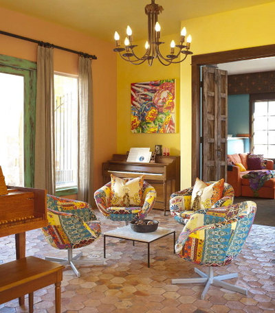 southwestern living room by astleford interiors inc