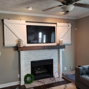 Ashley's fabulous fireplace surround and entertainment center