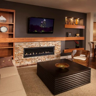 Example of a trendy open concept living room design in Atlanta with a ribbon fireplace and a wall-mounted tv