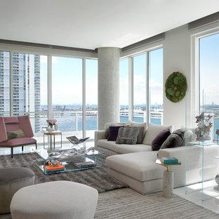 Immagine di un soggiorno contemporaneo di medie dimensioni e aperto con sala formale, pareti bianche e pavimento in linoleum
