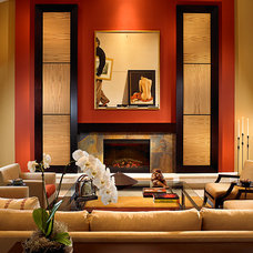 Asian Living Room by Shuster Design Associates