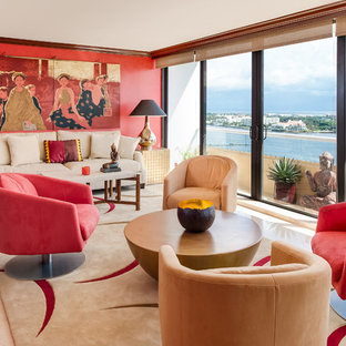 Inspiration for an asian beige floor living room remodel in Miami with red walls