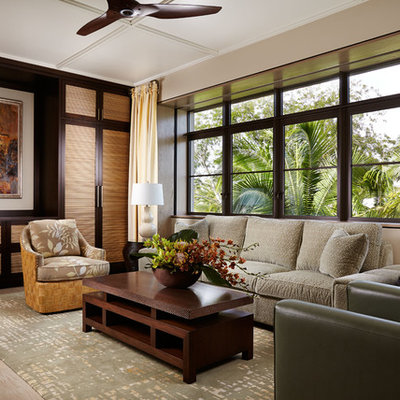 Large formal and open concept carpeted and beige floor living room photo in Wichita with beige walls and no tv