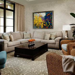 Example of a large zen open concept carpeted and beige floor living room design in Wichita with beige walls, no fireplace and no tv