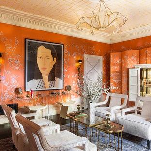Modelo de salón de estilo zen con parades naranjas