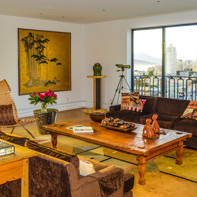 Inspiration for an asian medium tone wood floor living room remodel in San Francisco with white walls