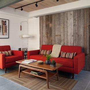 Esempio di un soggiorno minimalista di medie dimensioni e chiuso con pareti bianche, nessuna TV, pavimento in ardesia, camino ad angolo e cornice del camino piastrellata