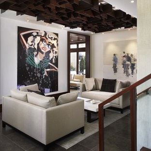 Living room - contemporary black floor living room idea in Denver with white walls