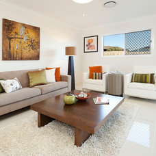 Transitional Living Room by Caco Photography