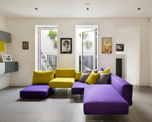 Yellow And Purple Living Room Design Ideas Remodels Photos Houzz