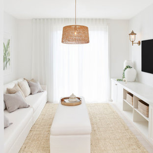 This is an example of a transitional enclosed living room in Sydney with white walls, no fireplace, a wall-mounted tv, beige floor and panelled walls.