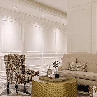 シカゴの大きいトランジショナルスタイルのおしゃれなLDK (フォーマル、白い壁、標準型暖炉、金属の暖炉まわり、テレビなし、マルチカラーの床) の写真