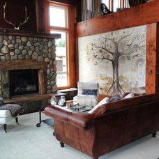 Farmhouse Living Room by Monogram Interior Design LLC